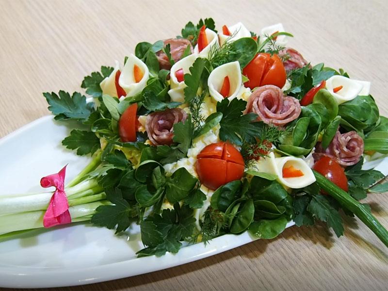 Салат Букет цветов для милых женщин к 8 Марта